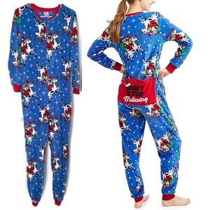 Santa Unicorn Fleece Onesie Pajamas Christmas